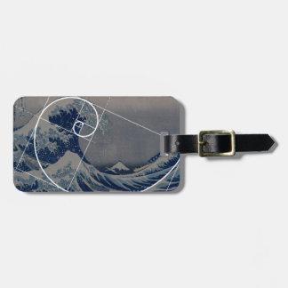 Hokusai Meets Fibonacci, Golden Ratio Tag For Bags