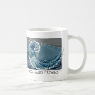 Hokusai Meets Fibonacci with Numerical Sequence Coffee Mug