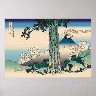 Hokusai Mishima Pass in Kai Province Poster