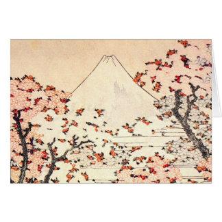 Hokusai Mount Fuji Cherry Blossoms Greeting Card