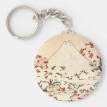 Hokusai Mount Fuji Cherry Blossoms Key Chain