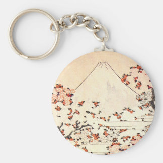 Hokusai Mount Fuji Cherry Blossoms Key Chain