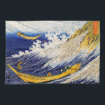 """Hokusai Ocean Waves Kitchen Towel<br><div class=""""desc"""">Hokusai Ocean Waves kitchen towel. Ukiyo-e from Japanese Edo Period. Katsushika Hokusai painted some of the most recognized wave paintings in the history of Japanese art. Ocean Waves depicts a boat of Japanese sailors struggling against a monstrous blue wave. Like his other marina paintings, Ocean Waves beautifully depicts the tumult...</div>"""