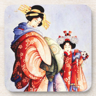 Hokusai Oiran and Kamuro Coasters