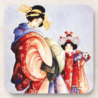Hokusai Oiran and Kamuro Coasters