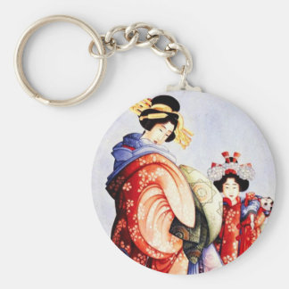 Hokusai Oiran and Kamuro Key Chain