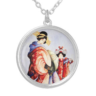 Hokusai Oiran and Kamuro Necklace