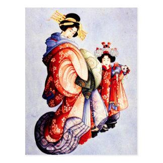 Hokusai Oiran and Kamuro Postcard