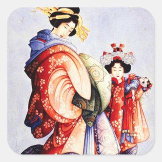 Hokusai Oiran and Kamuro Stickers