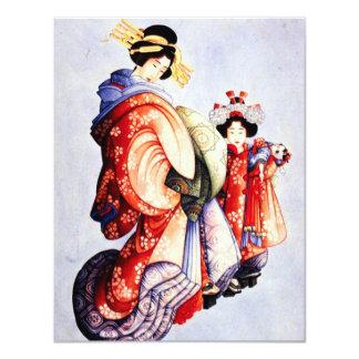 """Hokusai Oiran e invitaciones de Kamuro Invitación 4.25"""" X 5.5"""""""