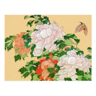 Hokusai Peonies and Butterfly Reboot Postcard
