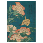 Hokusai Peonies and Canary GalleryHD Wood Poster