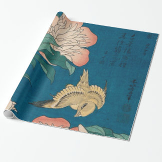 Hokusai Peonies and Canary GalleryHD Wrapping Paper