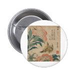 Hokusai Peony and Canary Buttons