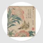 Hokusai Peony and Canary Classic Round Sticker