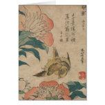 Hokusai Peony and Canary Greeting Card