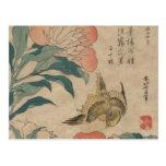 Hokusai Peony and Canary Postcard