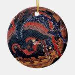 Hokusai Phoenix - ornamento Adorno Navideño Redondo De Cerámica