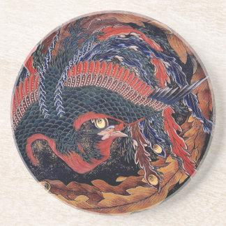 Hokusai Phoenix - Sandstone Coaster