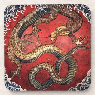 Hokusai Red Dragon - Cork Coaster