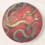 Hokusai Red Dragon - Sandstone Coaster