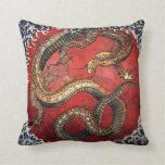 Hokusai Red Dragon Throw Pillows