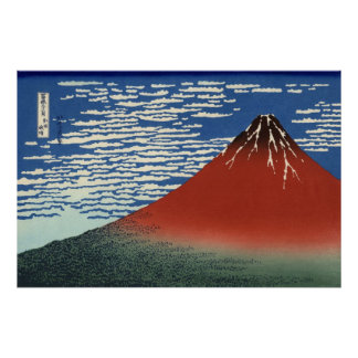 Hokusai Red Fuji Original High Resolution Art Posters