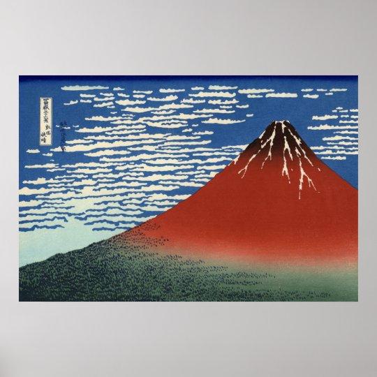 Hokusai Red Fuji Original High Resolution Art Poster