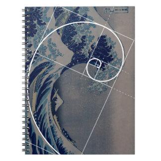 Hokusai resuelve Fibonacci, coeficiente de oro Libro De Apuntes Con Espiral