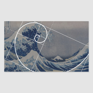 Hokusai resuelve Fibonacci, coeficiente de oro Pegatina Rectangular