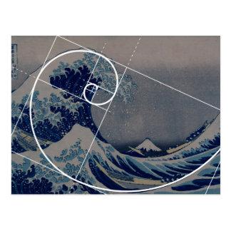 Hokusai resuelve Fibonacci, coeficiente de oro Postal