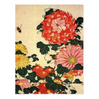 Hokusai s Chrysanthemum and Bee Postcard
