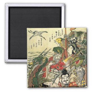 Hokusai siete dioses de 葛飾北斎 de la buena fortuna imán cuadrado