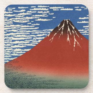 Hokusai South Wind Clear Sky Red Fuji Coasters