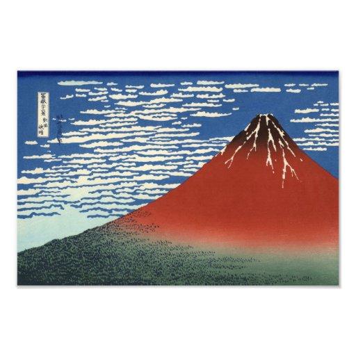 Hokusai South Wind Clear Sky Red Fuji Print Photo Print