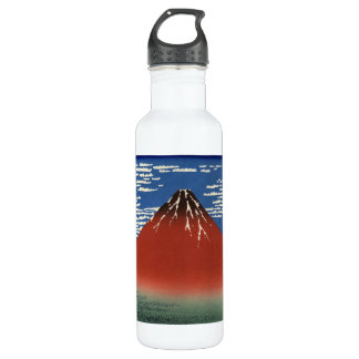 Hokusai South Wind Clear Sky Red Fuji Water Bottle