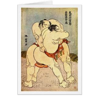 Hokusai Sumo Wrestlers Card