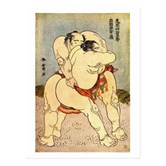 Hokusai Sumo Wrestlers Postcard