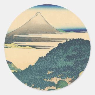 Hokusai: The Circular Pine Trees of Aoyama Classic Round Sticker