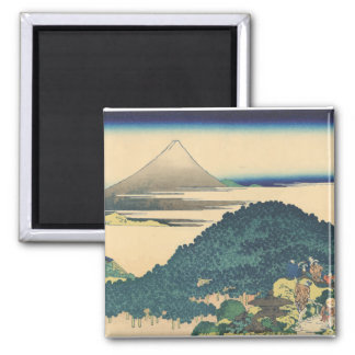 Hokusai: The Circular Pine Trees of Aoyama 2 Inch Square Magnet