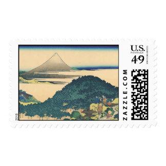 Hokusai: The Circular Pine Trees of Aoyama Postage Stamps