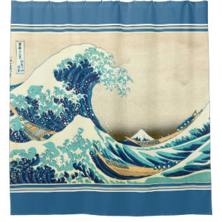 Hokusai The Great Wave Nautical Shower Curtain at Zazzle