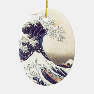 Hokusai 'The Great Wave' oval ornament