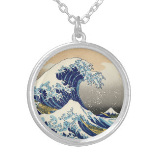 Hokusai The Great Wave Silver Plated Necklace