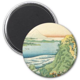 Hokusai - viajeros que suben una trayectoria de la imanes