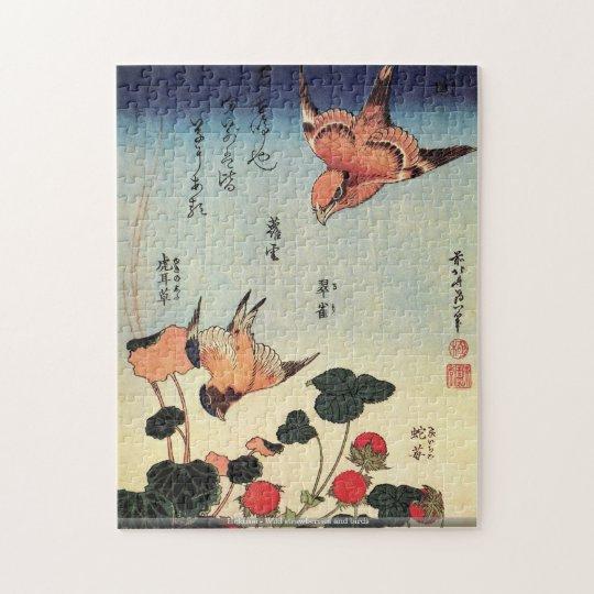 Hokusai - Wild strawberries and bird puzzle