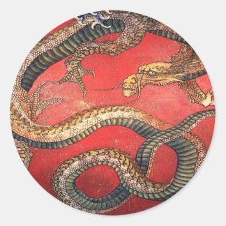 Hokusai's Dragon Classic Round Sticker