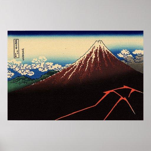 Hokusai's 'Lightning Below the Summit' Posters
