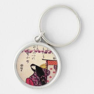 Hokusai's 'Poetess Ononokomatschi' Keychain Silver-Colored Round Keychain