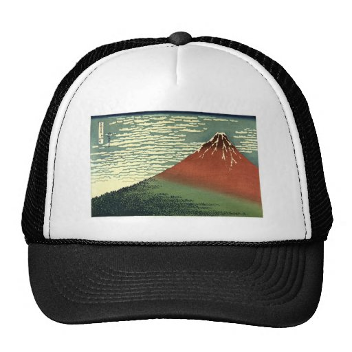 """Hokusai's South Wind, Clear Sky or """"Red Fuji"""" Trucker Hat"""
